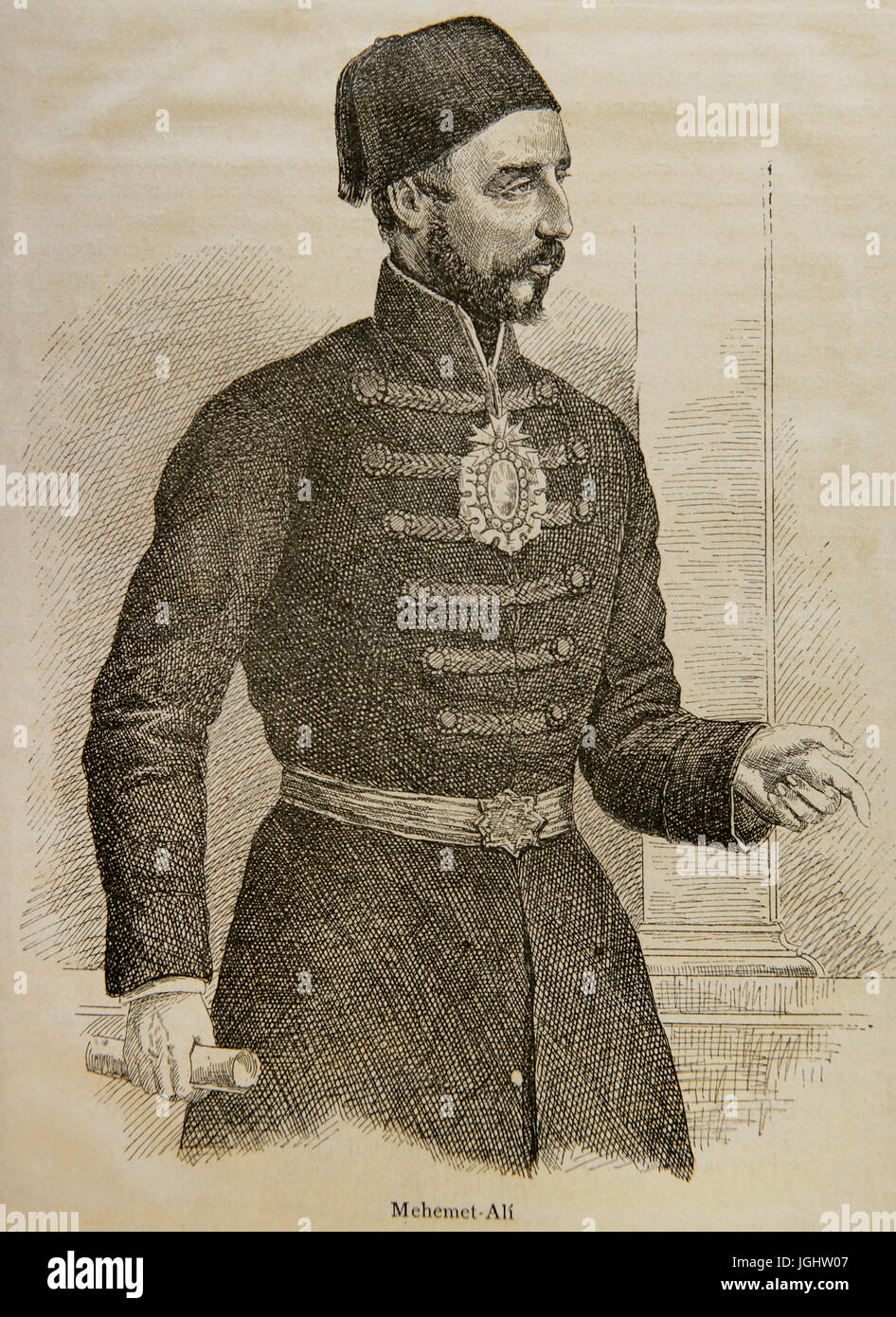 Muhammad Ali of Egypt (1769-1849). Ottoman Albanian commander. Engraving in The Universal History, 1881. - Stock Image