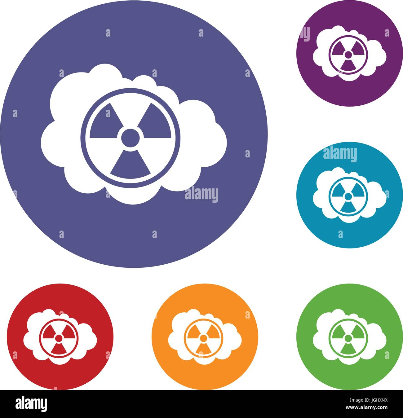 Cloud and radioactive sign icons set Stock Vector