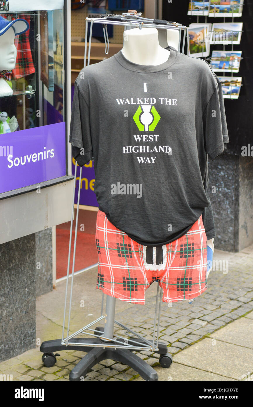 Scottish tourist industry - I walked the West Highland Way t-shirt tee shirt - for sale in Fort William, Scotland, - Stock Image