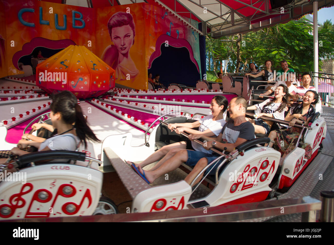 VINPEARL RESORT, NHA TRANG, VIETNAM, MARCH 5, 2016 - Group of people on the amusement ride. - Stock Image