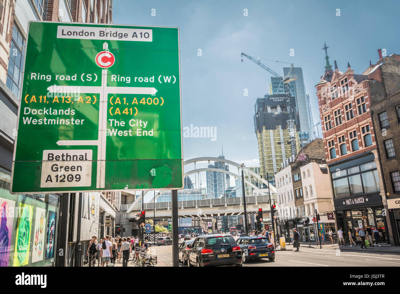 A street sign on Shoreditch High Street, London, UK - Stock Image