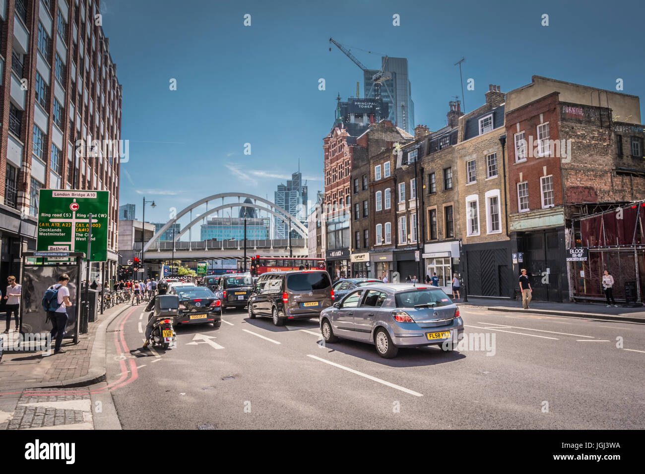 A busy and congested Shoreditch High Street, London, UK - Stock Image