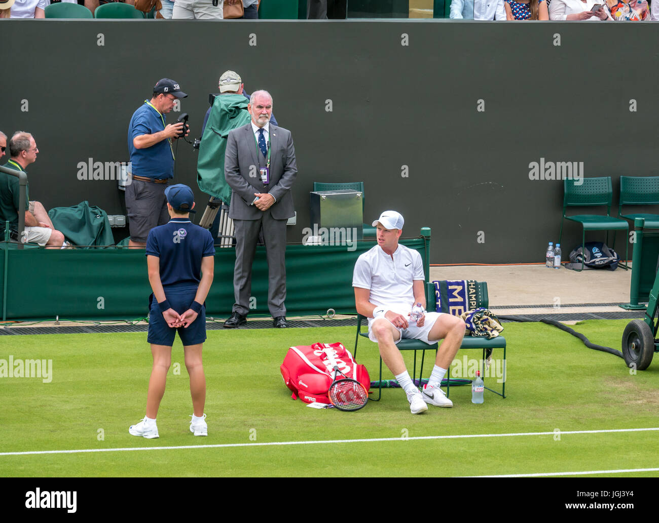 Kyle Edmund takes a break between games on No 3 Court Wimbledon tennis championship 2017, London SW19, England, - Stock Image