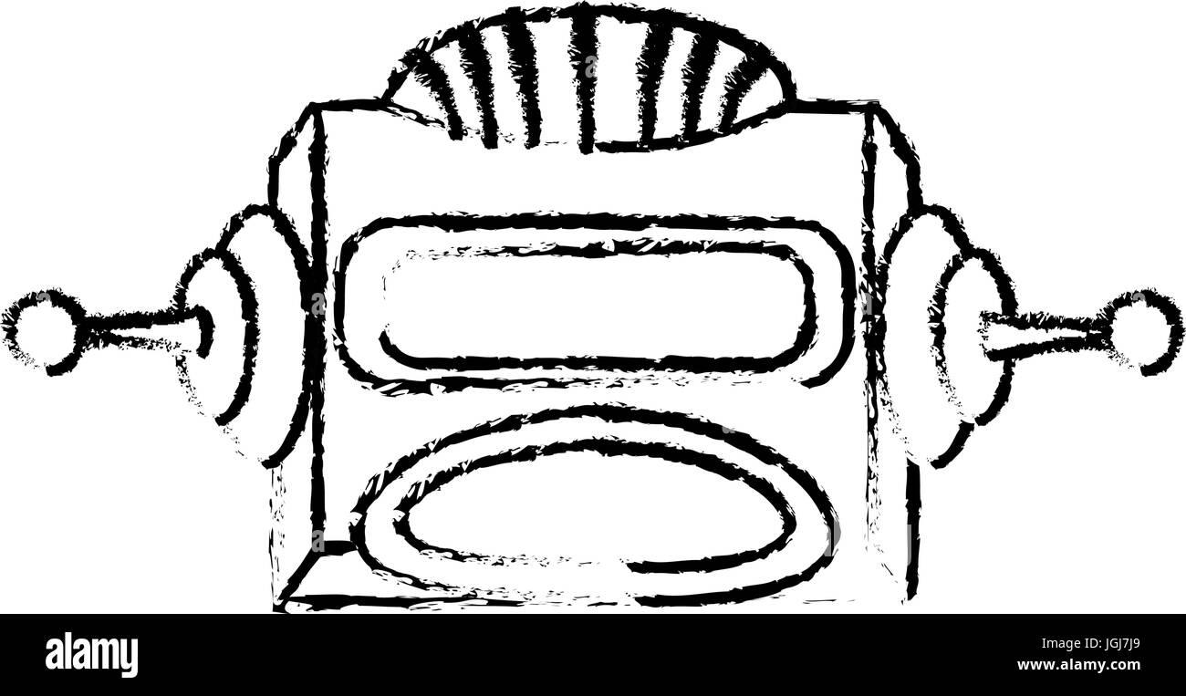 robot head electronic antenna machine - Stock Image
