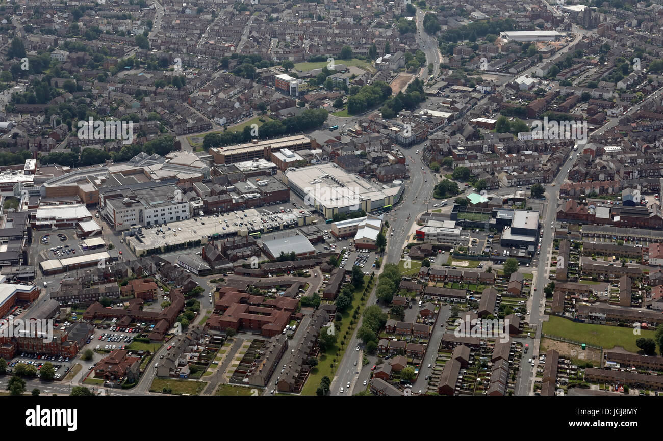 aerial view of Birkenhead town centre, Wirral, Merseyside, UK - Stock Image