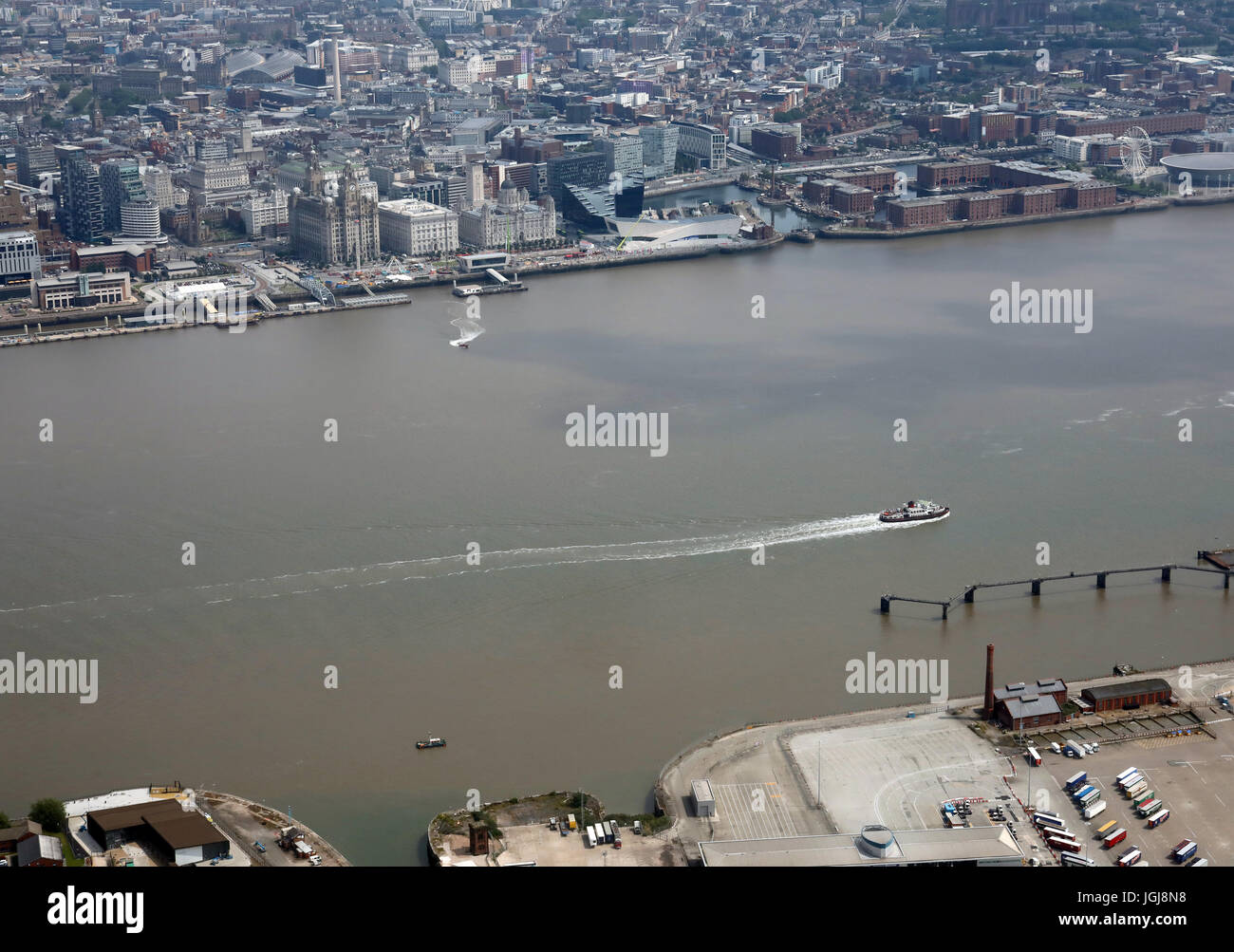 aerial view of the River Mersey ferry crossing from Birkenhead to Liverpool waterfront, UK - Stock Image