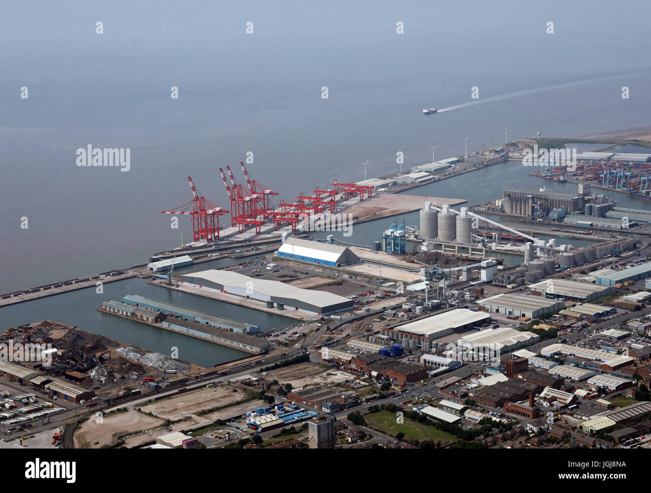 aerial view of Seaforth Docks in Liverpool, UK - Stock Image