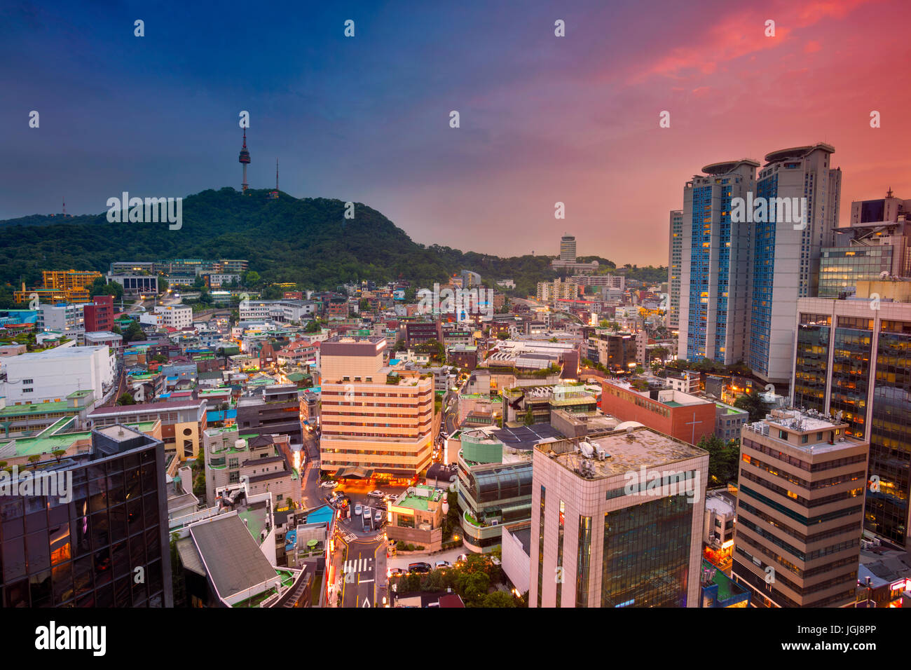 Seoul. Image of Seoul downtown during twilight blue hour. Stock Photo