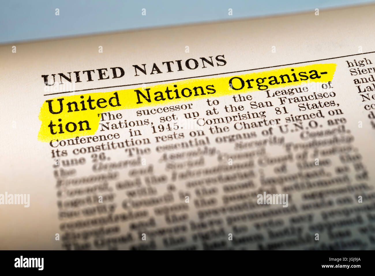 United Nations Organisation - dictionary definition highlighted - Stock Image