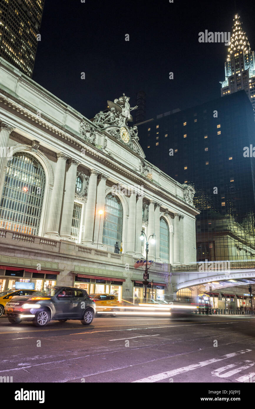 42nd street in Manhattan contains two of the most iconic buildings of NYC, Grand Central Station and the Chrysler - Stock Image
