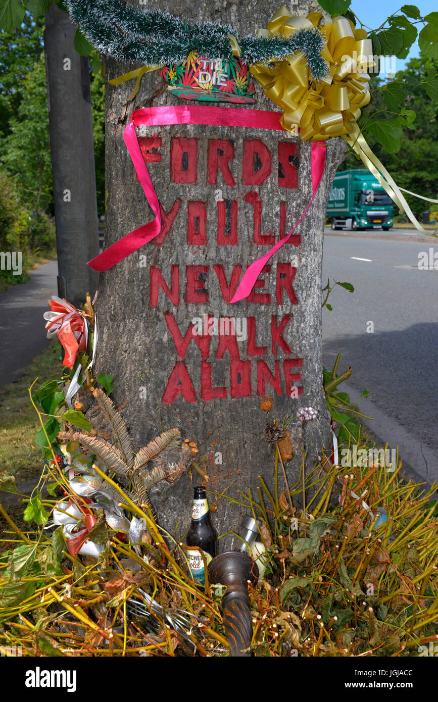 Roadside shrine to a road fatality on the side of the A4 at Shirehampton, Bristol, UK - Stock Image
