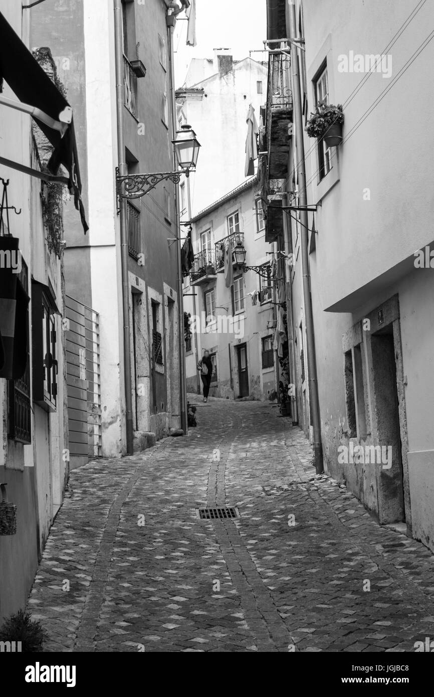 Alfama is the oldest district in Lisbon (Portugal) - Stock Image