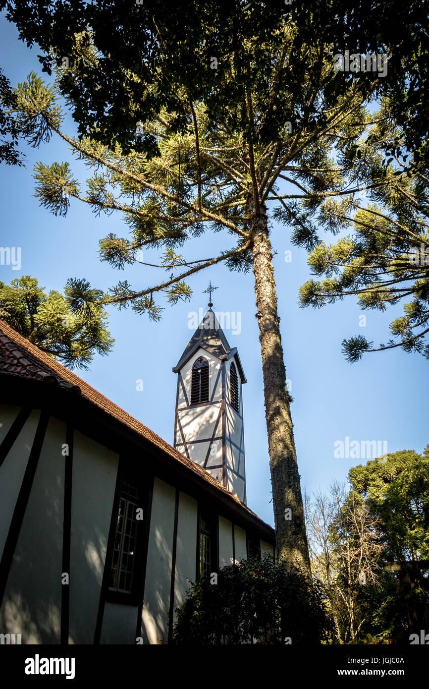 German Fachwerk Style Church at Immigrant Village Park (Parque Aldeia do Imigrante) - Nova Petropolis, Rio Grande - Stock Image
