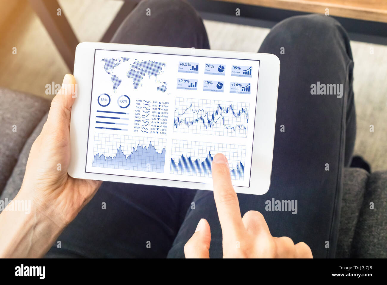 Person using financial dashboard with charts and key performance indicators (KPI) on tablet computer screen at home - Stock Image
