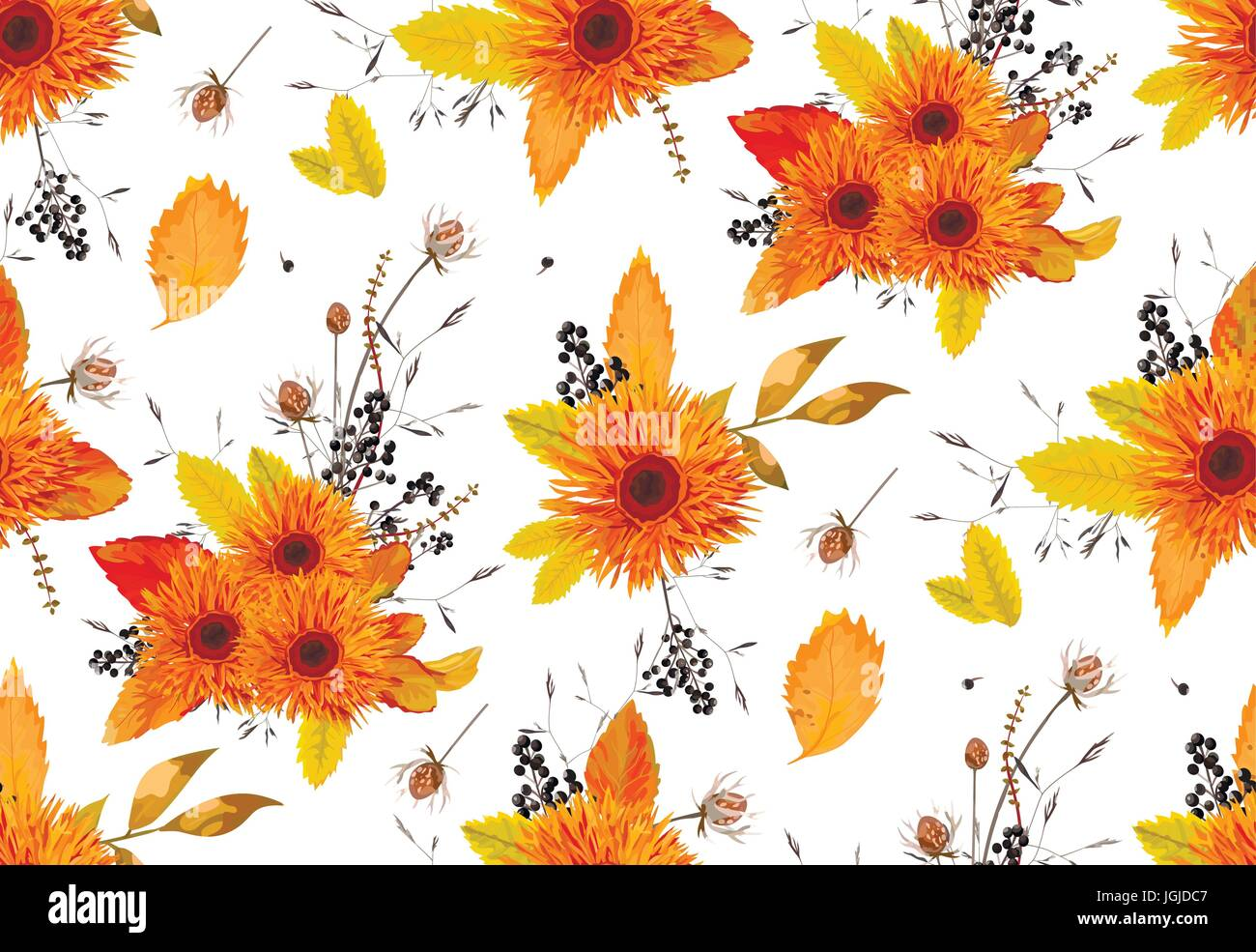 Pattern seamless autumn flowers gerbera sunflower beautiful flower ash leaves berry background wallpaper orange, yellow design watercolor style illust