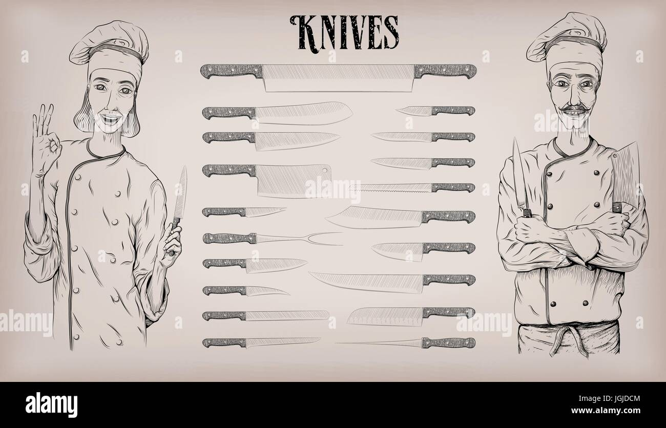 Kitchen tools knife knives utensils set: chef's, peeling; woman and man chef cook happy smile portrait. Vector beautiful Stock Vector