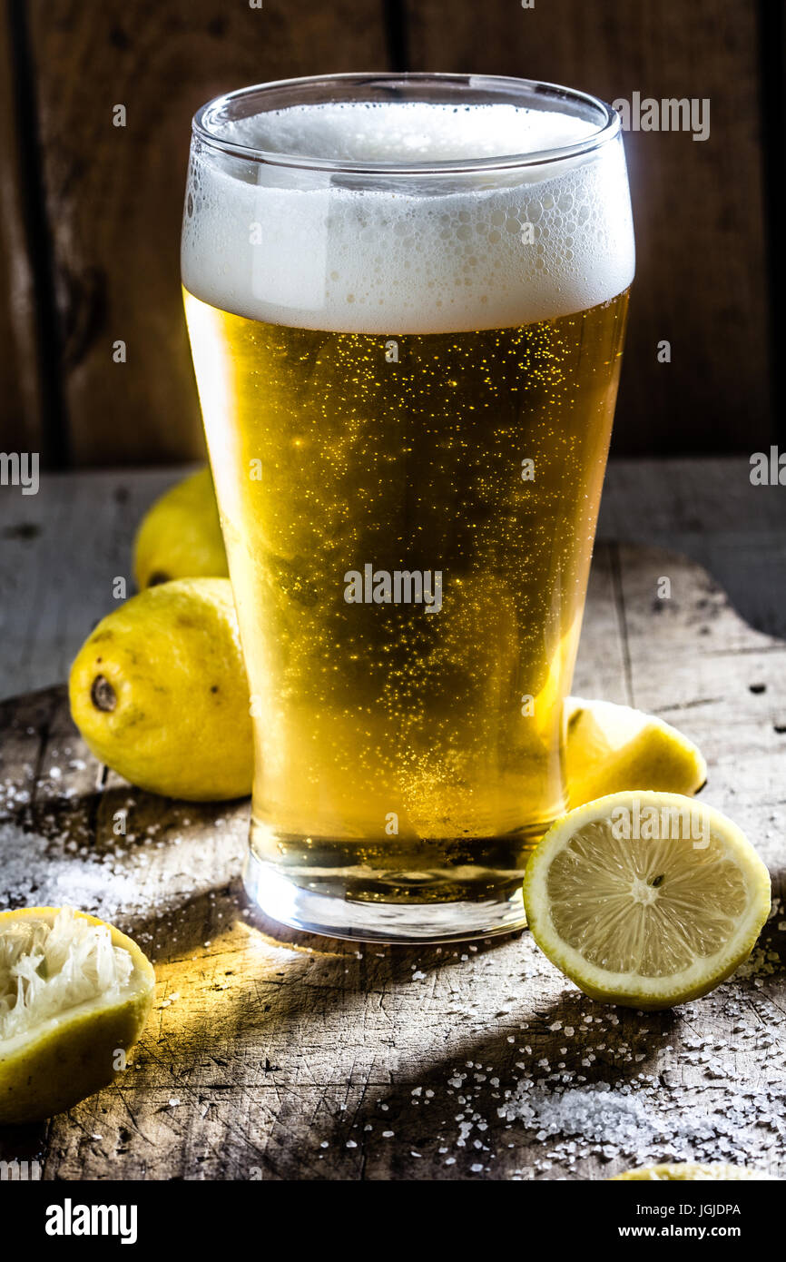 Ingredients for mexican chilean beer drink - Michelada - Stock Image