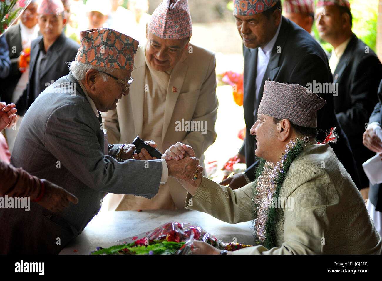 Kathmandu Nepal 07th July 2017 Former King Gyanendra Shah Stock