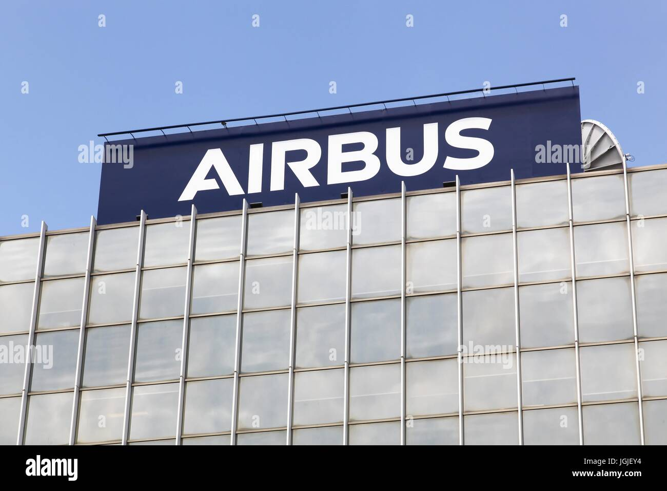 Toulouse,  France - June 2, 2017: Airbus is a division of the multinational Airbus SE that manufactures civil aircraft - Stock Image