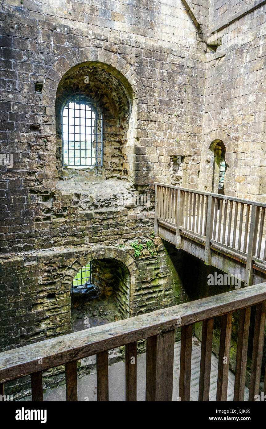 Interior view of the ancient ruin of Peveril Castle, Castleton, Peak District, Derbyshire, England, UK. Stock Photo