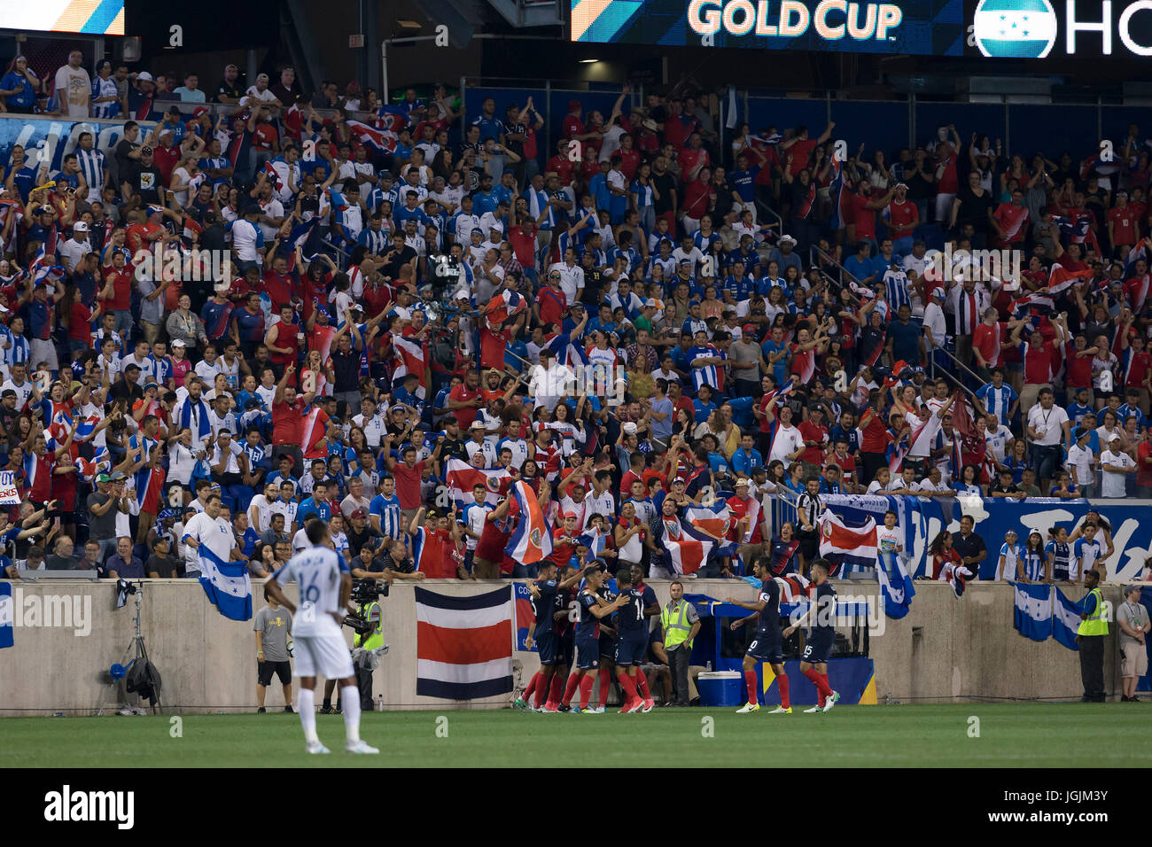 b7a509e70 Fans of Costa Rica National team and Honduras National team attend CONCACAF  Gold Cup group stage game at Red Bulls Arena Costa Rica won 1 - 0 (Photo by  Lev ...