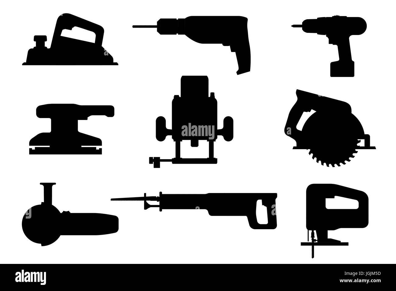 Electric tools black silhouettes - Stock Vector