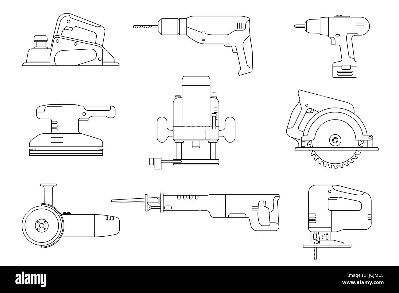 Electric tools line icons. - Stock Vector