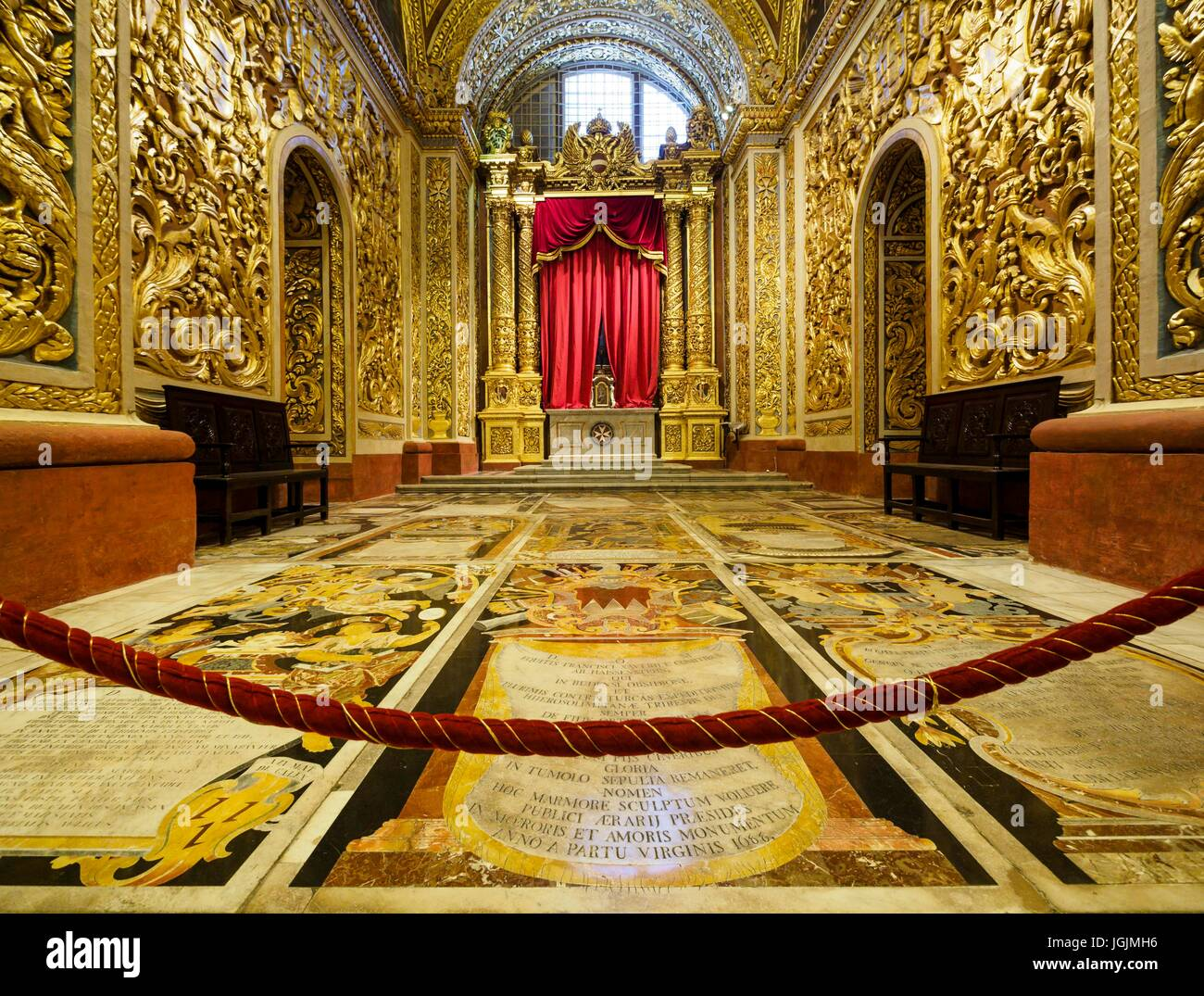 Interior view of St. John's Co-Cathedral at the capital Valletta / Malta. - Stock Image
