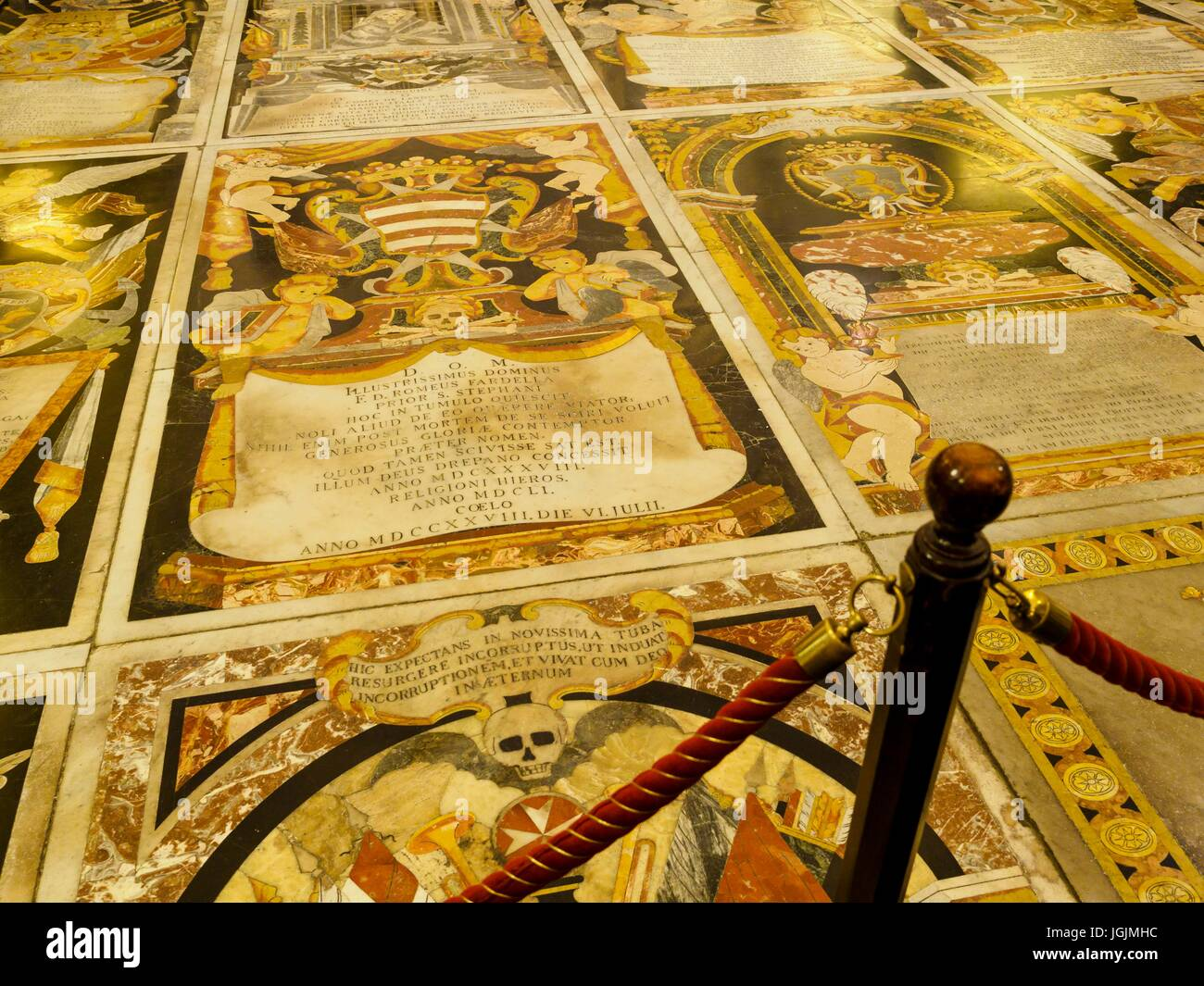 The marble floor inside St. John's Co-Cathedral at the capital Valletta / Malta. - Stock Image