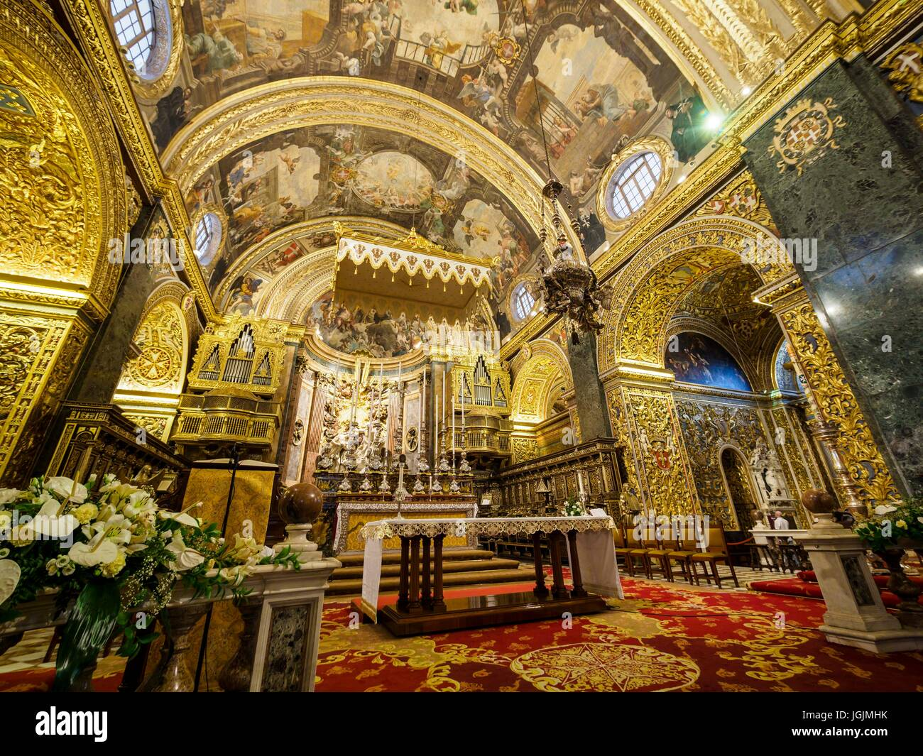 The sanctuary of St. John's Co-Cathedral at the capital Valletta / Malta - Stock Image