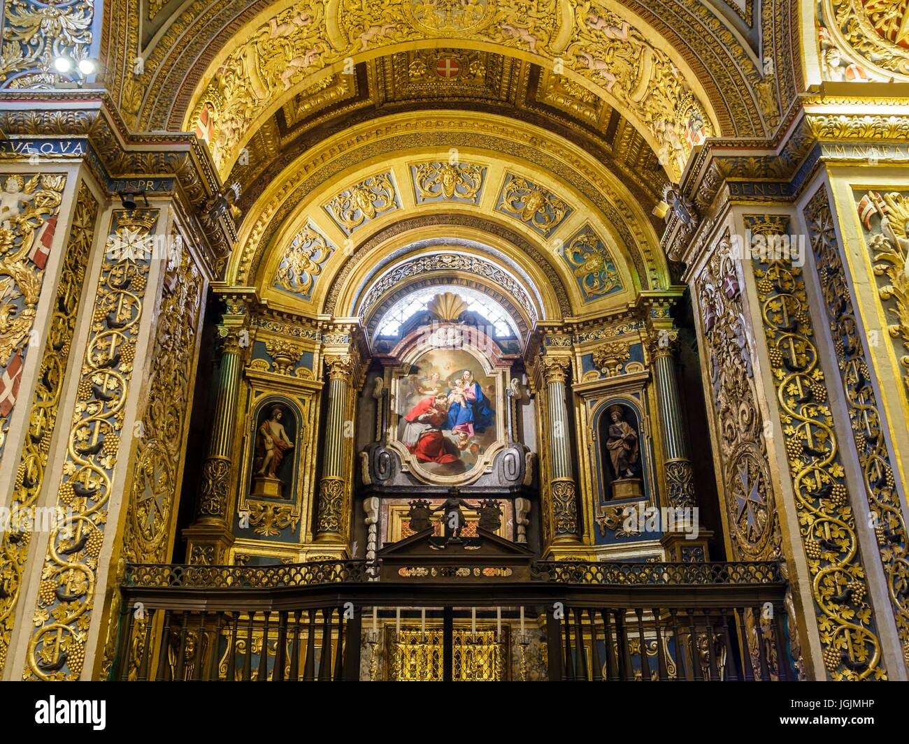 The chapel of the Anglo-Bavarian Langue inside St. John's Co-Cathedral at the capital Valletta / Malta. - Stock Image