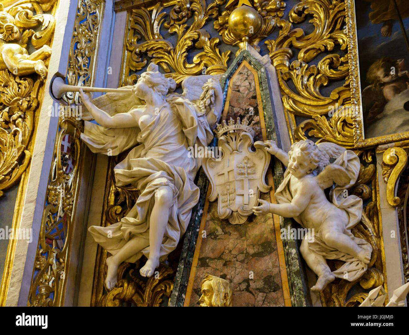 A detail inside St. John's Co-Cathedral at the capital Valletta / Malta. - Stock Image