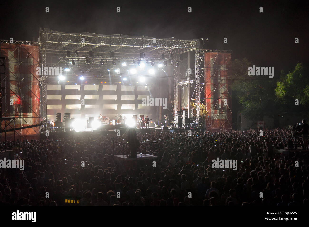 Novi Sad, Serbia. 7th Jul, 2017. Crowd cheering at Liam Gallagher performing on the main stage of Exit Festival. - Stock Image