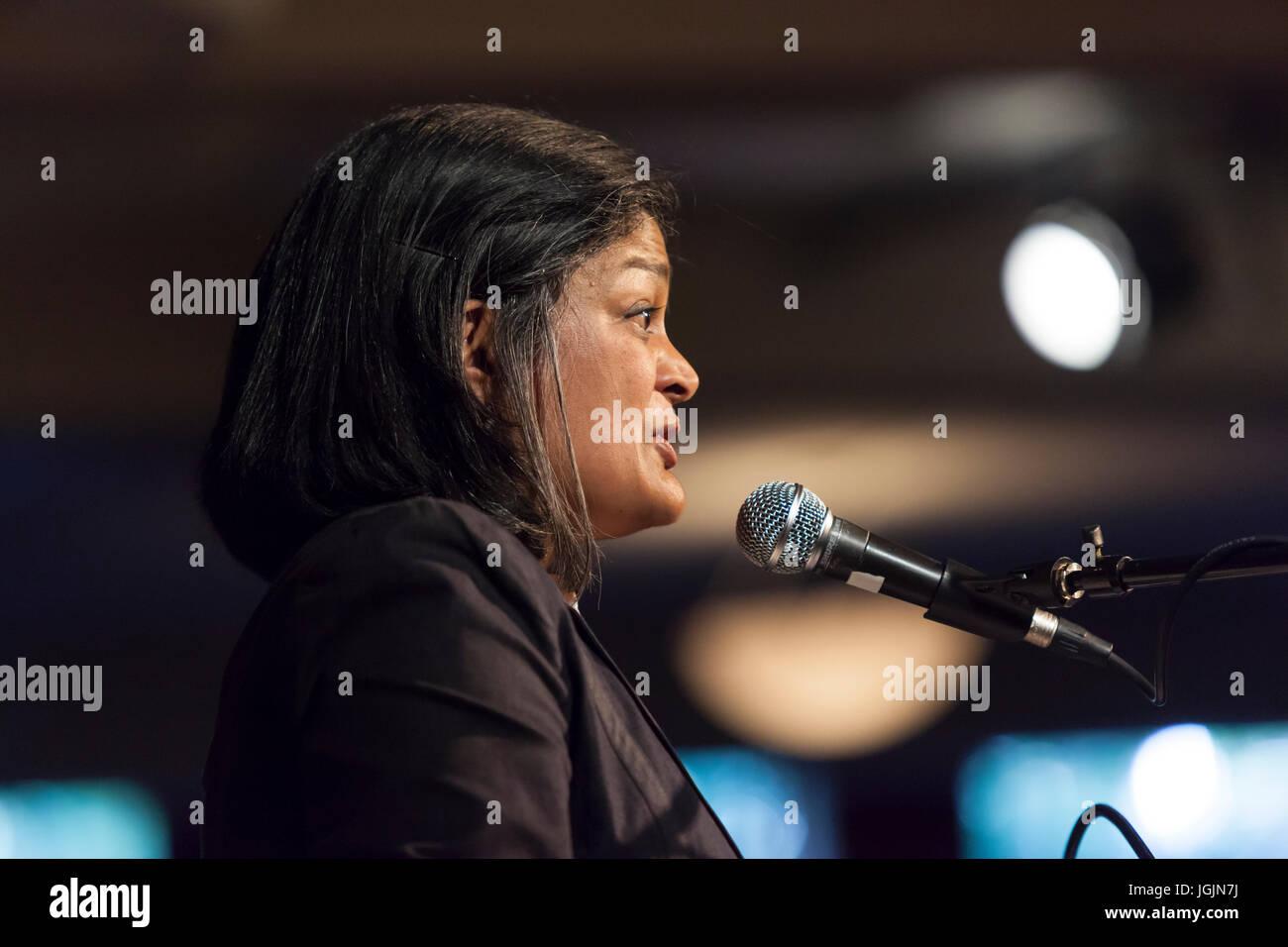 Seattle, USA. 6th Jul, 2017. Congresswoman Pramila Jayapal spoke to hundreds at Town Hall Seattle. The first-term - Stock Image