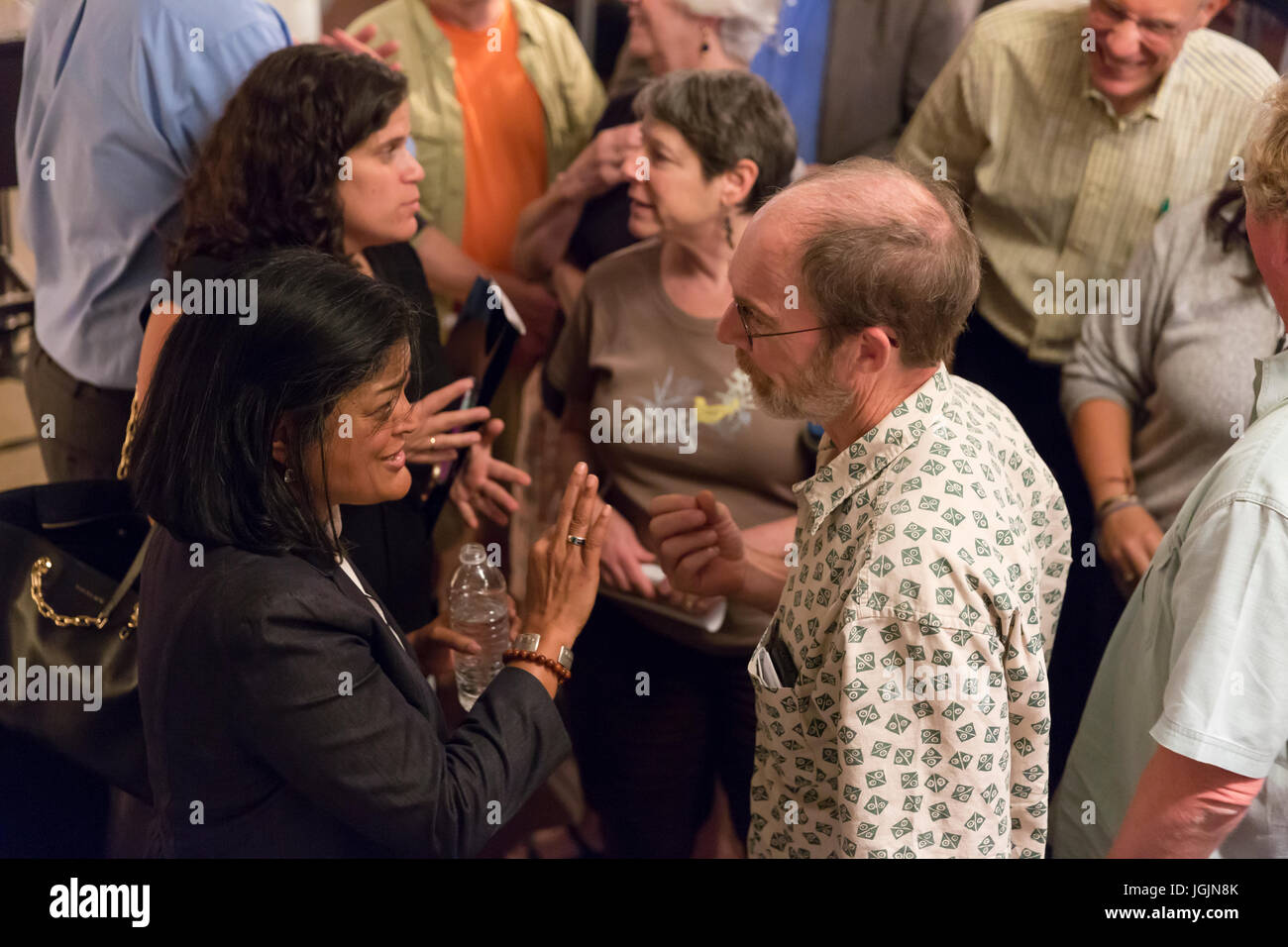 Seattle, USA. 6th Jul, 2017. Congresswoman Pramila Jayapal speaks with the public at Town Hall Seattle. The first - Stock Image