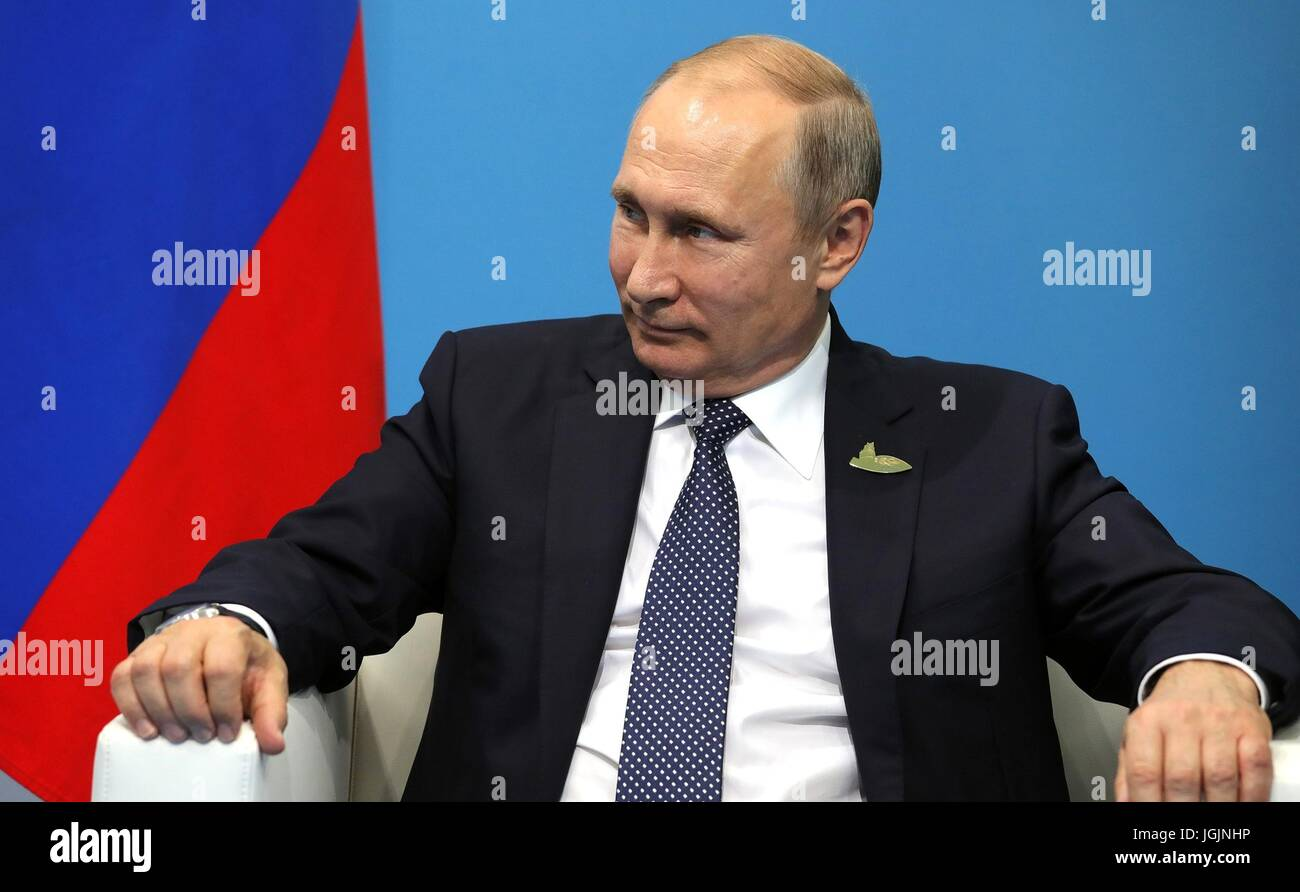 Russian President Vladimir Putin during his bilateral meeting with South Korean President Moon Jae-in on the sidelines - Stock Image