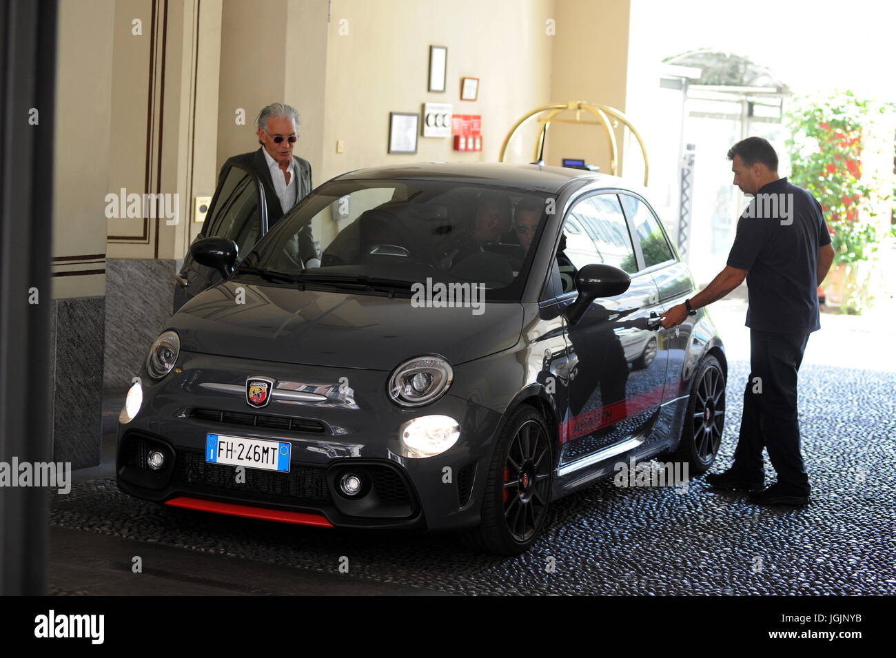 Milan, Lapo Elkann goes to lunch in downtown with Fiat500 anniversary sweater Lapo Elkann arrives in the center Stock Photo