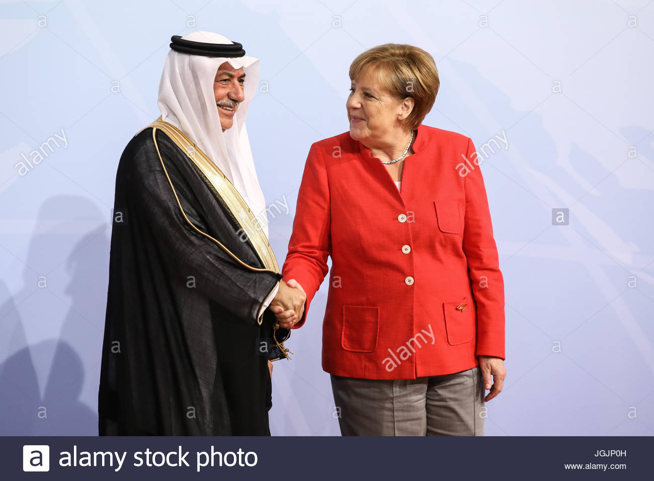 Hamburg, Germany. 7th Jul, 2017. Mohammed al-Dschadan, finance minister of Saudi Arabia welcomes by German chancellor - Stock Image