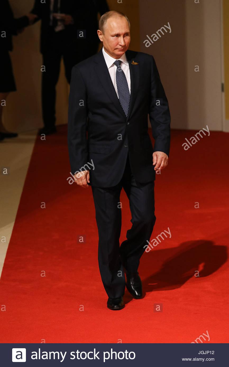 Hamburg, Germany. 7th Jul, 2017. Wladimir Putin, president of Russia at the G20 summit in Hamburg, Germany. - Wladimir - Stock Image