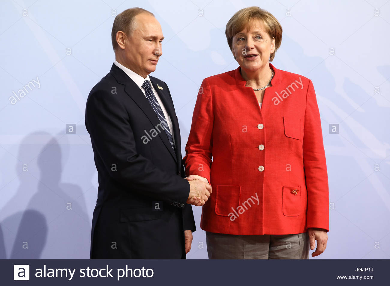 Hamburg, Germany. 7th Jul, 2017. Wladimir Putin, the president of Russia welcomes by German chancellor Angela Merkel - Stock Image