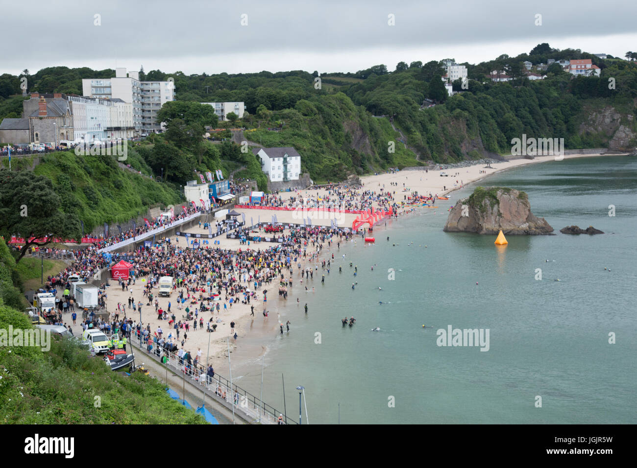 Wales Swim 2017, Tenby, Pembrokeshire, West Wales, UK. This years swim includes entries for amateur and professional - Stock Image