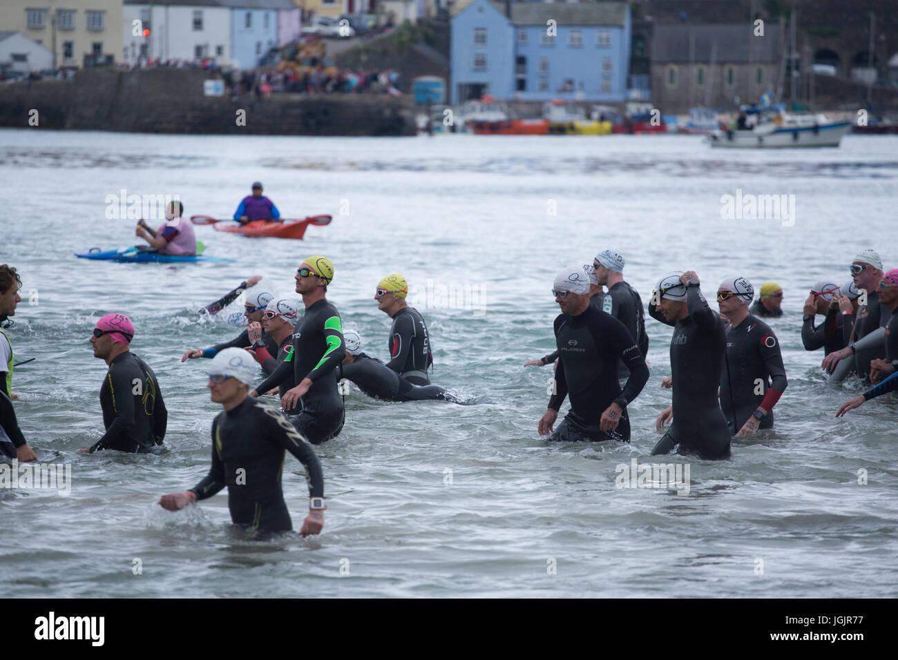 Wales Swim 2017, Tenby, Pembrokeshire, West Wales, UK. This years swim includes entries for 5000 amateur and professional - Stock Image