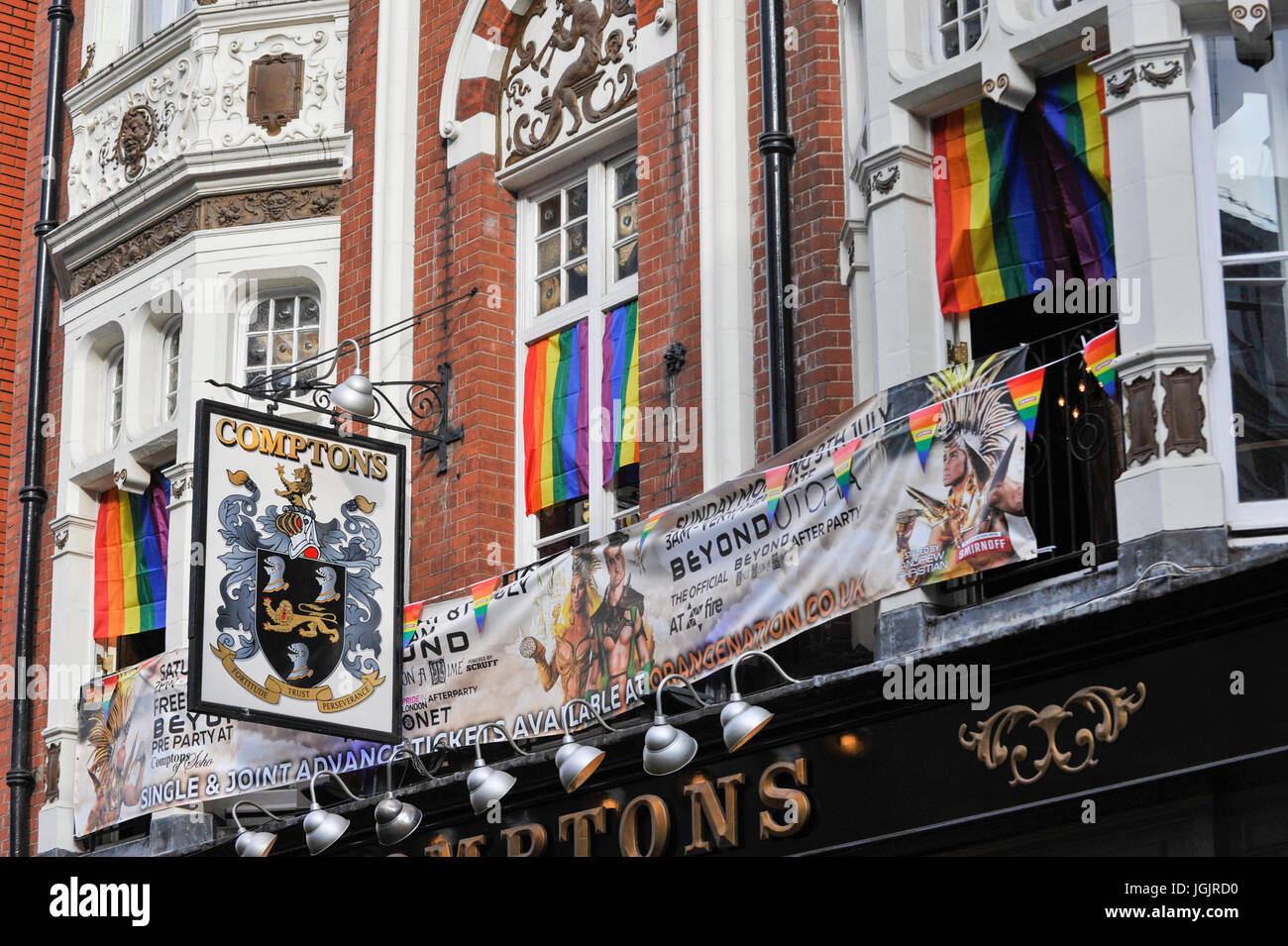 London Uk 7th July 2017 Rainbow Flags And Banners A Symbol For