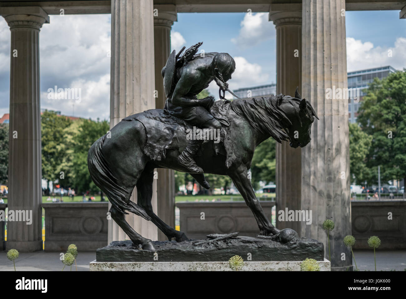 Berlin, Germany - July 06, 2017:Statue of a hun on a horse ('Hunne zu Pferde') at Alte Nationalgalerie Museum - Stock Image