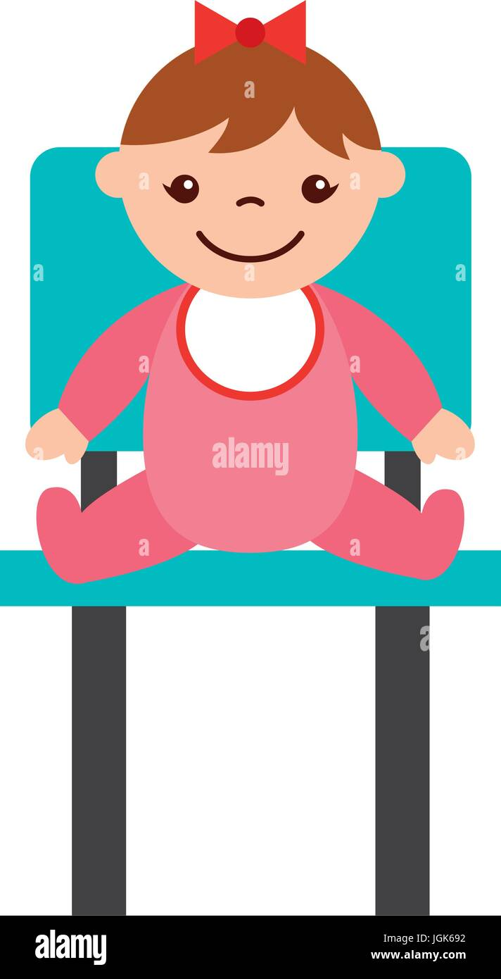cute girl baby sitting on chair avatar character - Stock Vector