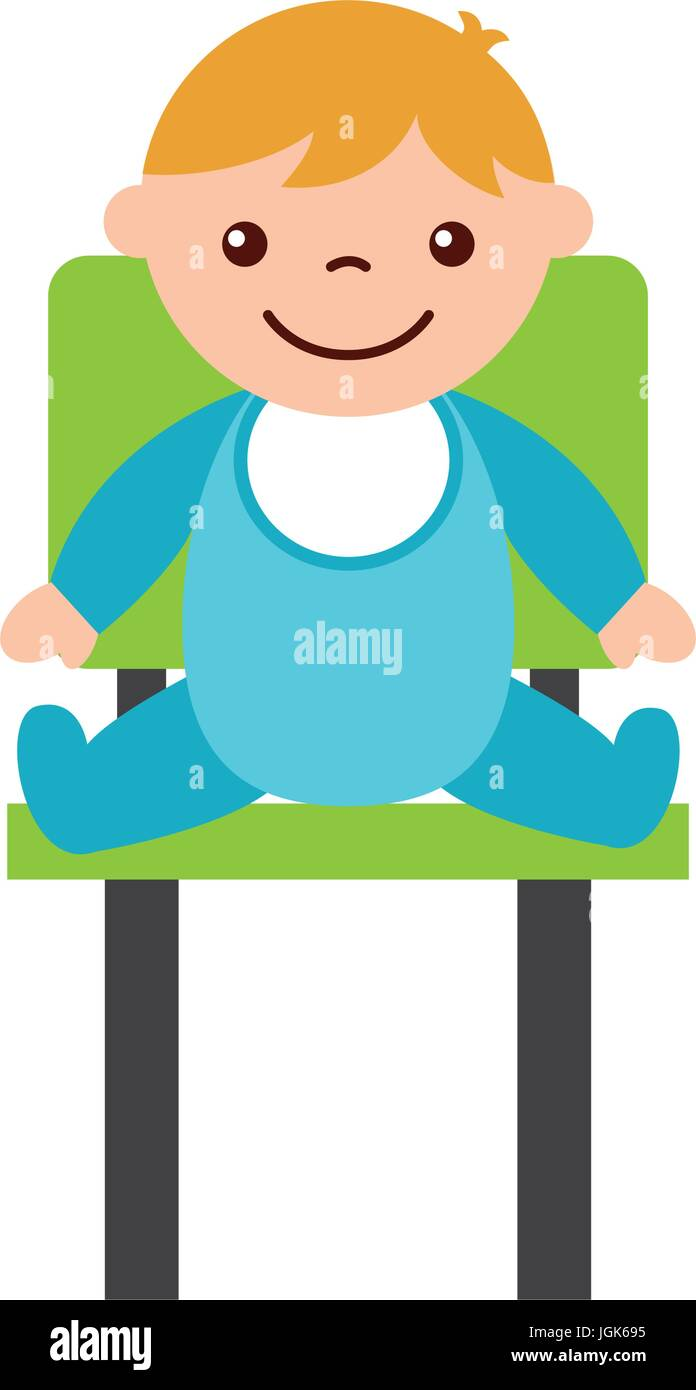 cute boy baby sitting on chair avatar character - Stock Vector