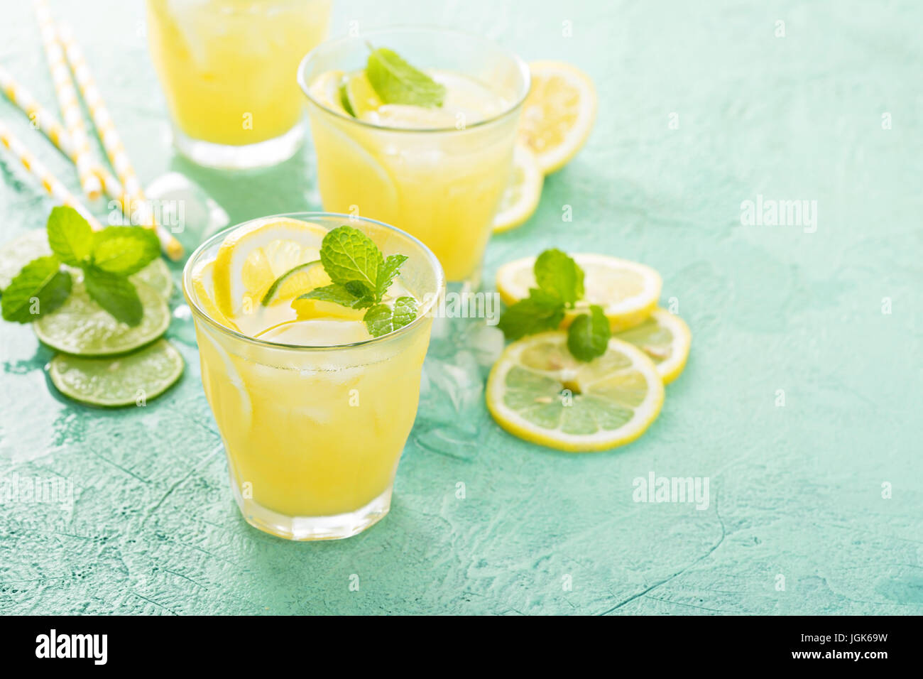 Refreshing citrus cocktail with lemon - Stock Image