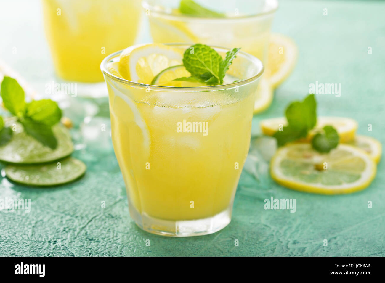 Refreshing citrus cocktail with lemon Stock Photo