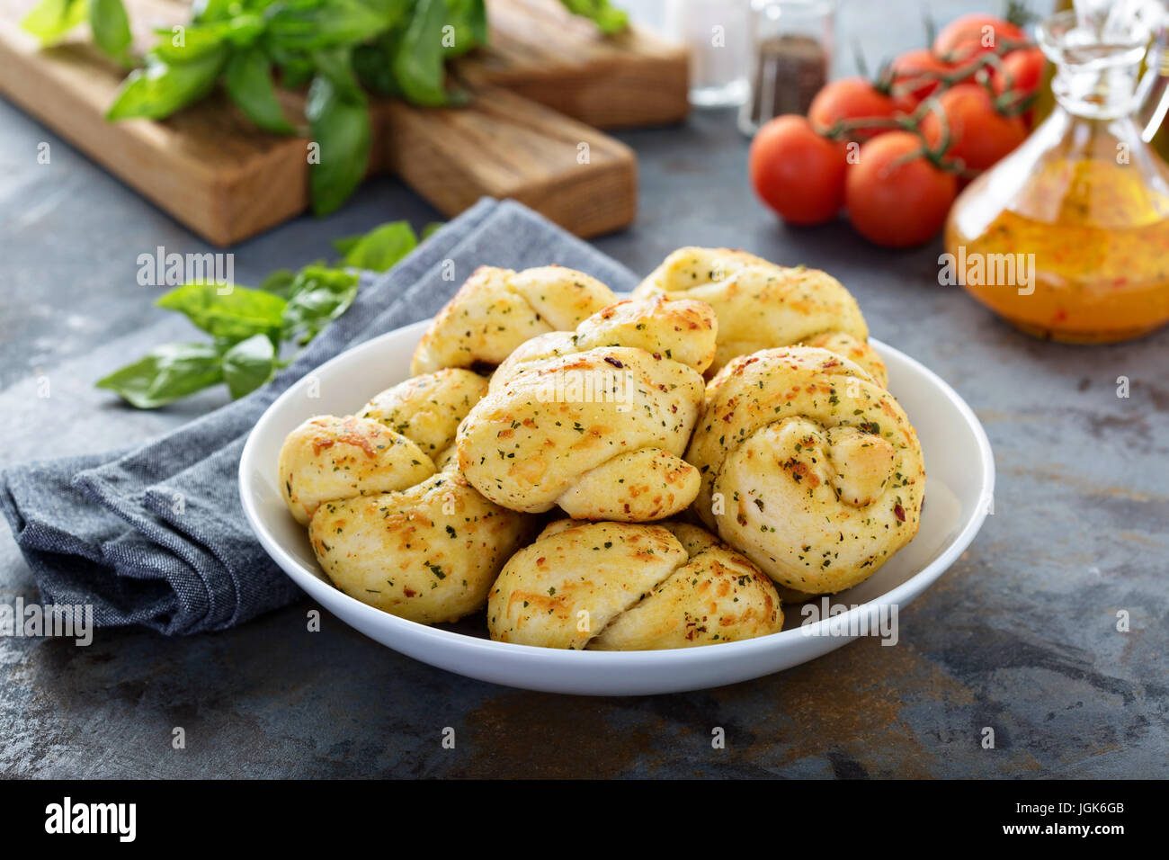 Garlic and cheese dinner rolls - Stock Image