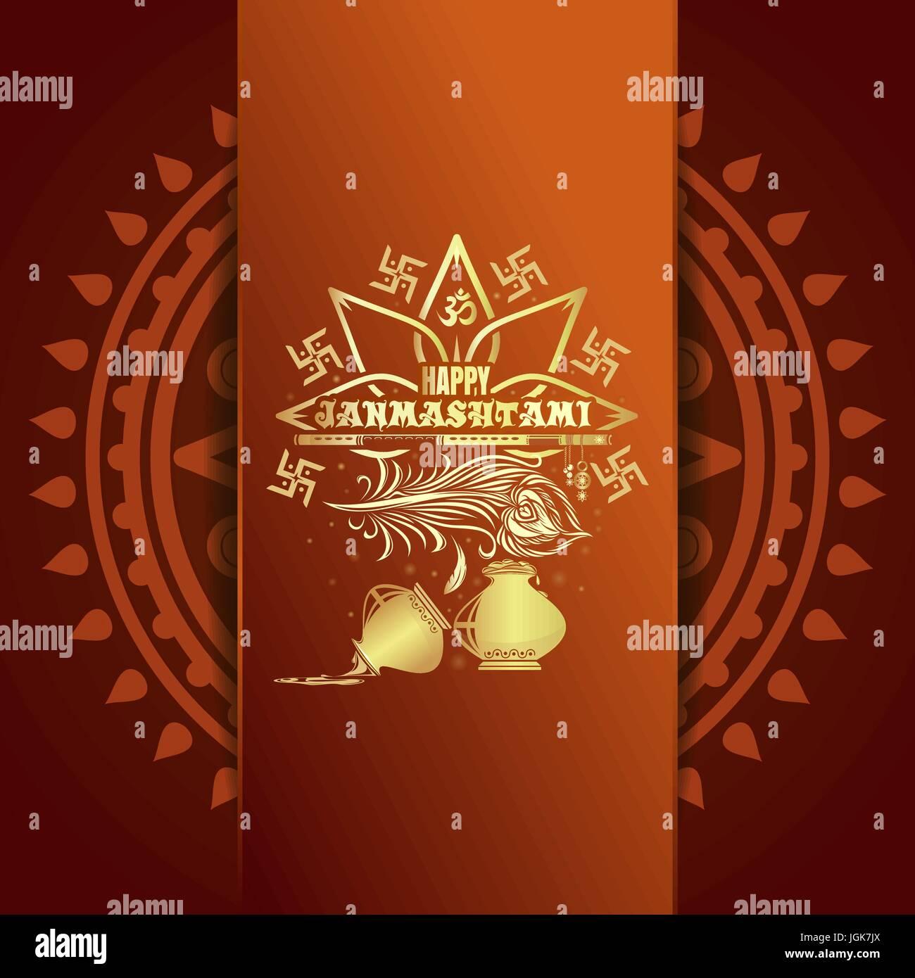 happy krishna janmashtami greeting card stock vector art